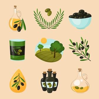Zestaw ikon oliwek