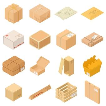 Zestaw ikon opakowania paczkowego. isometric ilustracja 16 pakunkowych pudełkowatych pudełkowatych wektorowych ikon dla sieci