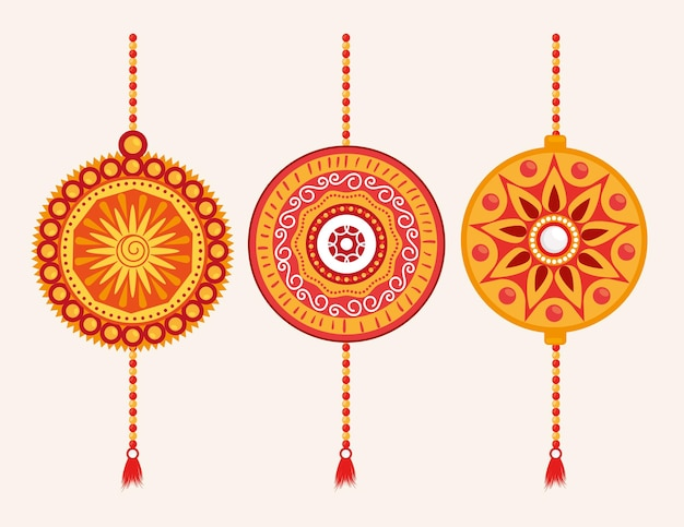 Zestaw ikon opaski na rękę raksha bandhan