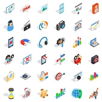 Zestaw ikon operacji internetowych, styl izometryczny