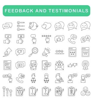 Zestaw ikon opinie i referencje, styl konturu