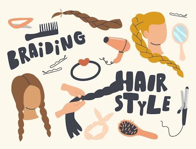 Zestaw ikon oplot hair style theme. kręcone żelazko, grzebień, spinka do włosów lub kobieca głowa, okrągłe lustro, wentylator, spinka lub warkocze do włosów z szpilkami