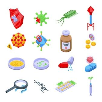 Zestaw ikon oporności na antybiotyki. izometryczny zestaw ikon wektorowych oporności na antybiotyki do projektowania stron internetowych na białym tle