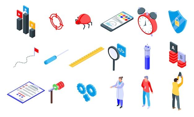 Zestaw ikon oprogramowania testowego, styl izometryczny