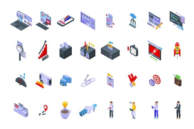 Zestaw ikon optymalizacji pod kątem wyszukiwarek izometryczny wektor. analiza wyszukiwania