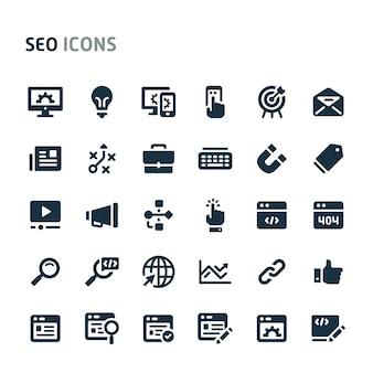 Zestaw ikon optymalizacji wyszukiwarki. seria fillio black icon.