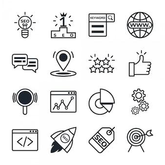 Zestaw ikon optymalizacji wyszukiwarki