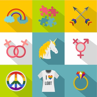 Zestaw ikon orientacji seksualnej, płaski