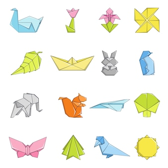 Zestaw ikon origami
