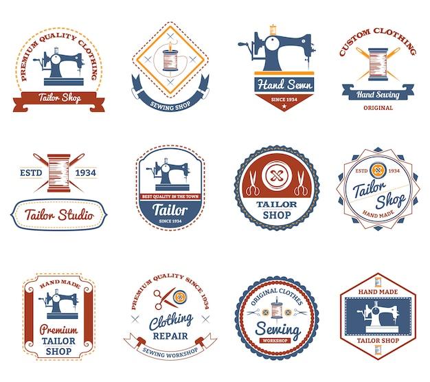 Zestaw ikon oryginalne etykiety krawieckie sklep