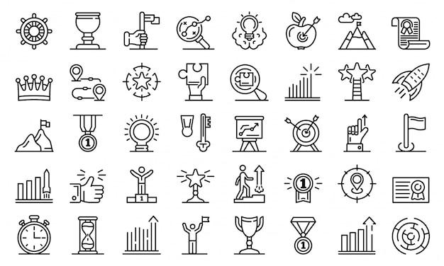 Zestaw ikon osiągnięcia celu, styl konturu