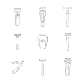 Zestaw ikon osobistego ostrza maszynki do golenia