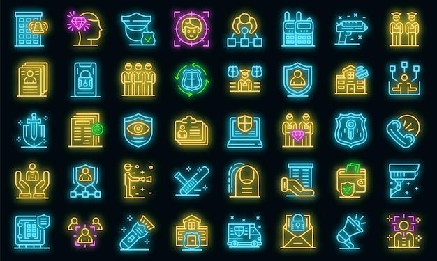 Zestaw ikon osobistej straży. zarys zestaw ikon wektorowych ochrony osobistej w kolorze neonowym na czarno