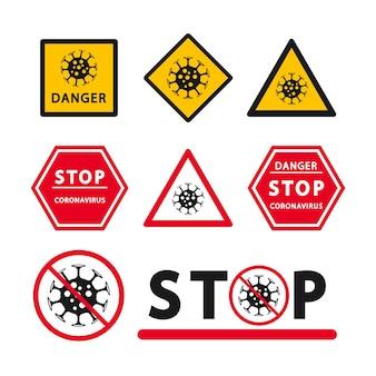 Zestaw ikon ostrzegawczych o zagrożeniu koronawirusem