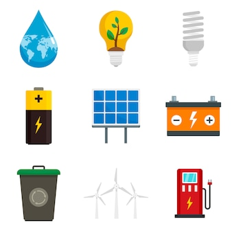Zestaw ikon oszczędzania energii