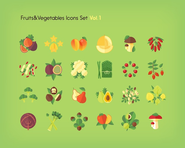 Zestaw ikon owoców i warzyw. ilustracja.