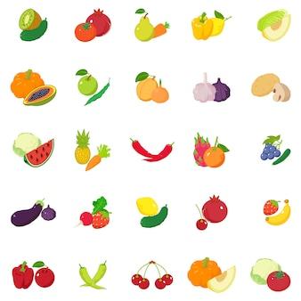 Zestaw ikon owoców i warzyw