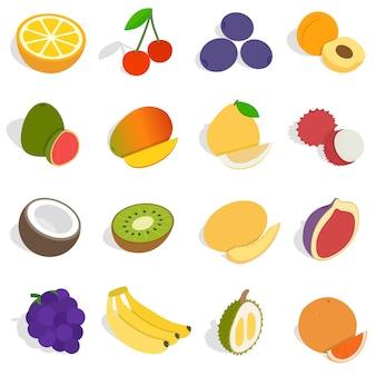 Zestaw ikon owoców izometryczny. uniwersalne ikony owoców do korzystania z sieci i mobilnego interfejsu użytkownika, zestaw podstawowych elementów owocowych ilustracji wektorowych na białym tle