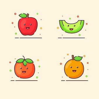 Zestaw ikon owoców kolekcja jabłko pomarańczowy melon pomidor ładny maskotka twarz emocja szczęśliwy owoc z kolorem