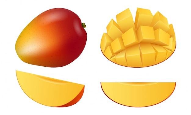 Zestaw ikon owoców mango, realistyczny styl