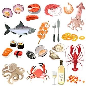 Zestaw ikon owoców morza