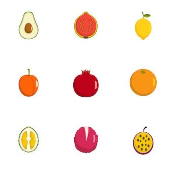 Zestaw ikon owoców. płaski zestaw 9 ikon wektorowych owoców