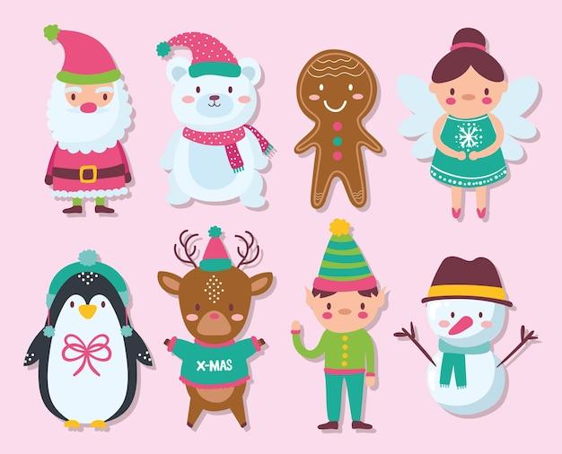 Zestaw ikon ozdobny dla projektu ilustracji wesołych świąt