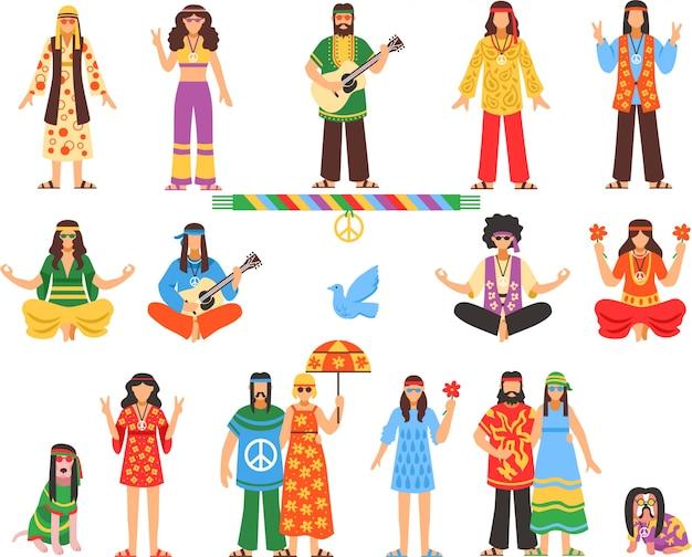 Zestaw ikon ozdobny hippie