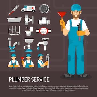 Zestaw ikon ozdobny instalacji sanitarnej