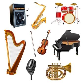 Zestaw ikon ozdobny instrumentów muzycznych