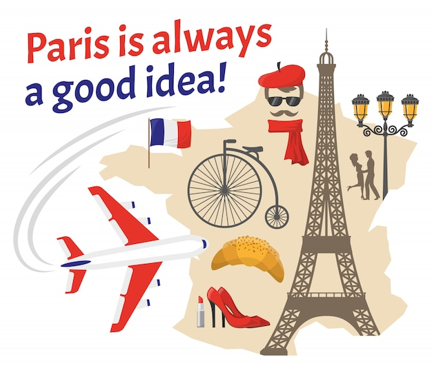 Zestaw ikon ozdobny paryż