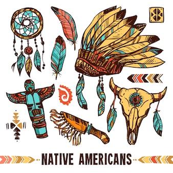 Zestaw ikon ozdobny rdzenni amerykanie