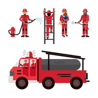 Zestaw ikon ozdobny strażak