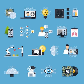 Zestaw ikon ozdobnych sieci neuronowych
