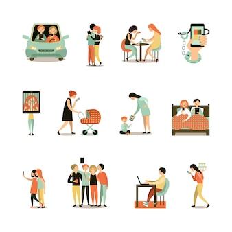 Zestaw ikon ozdobnych uzależnienia od internetu