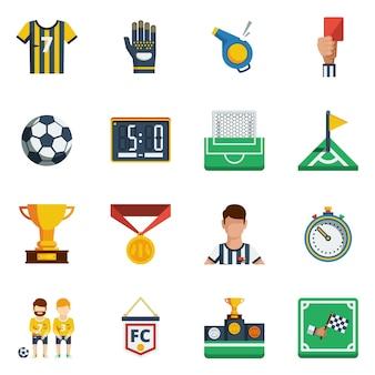 Zestaw ikon płaskie piłki nożnej