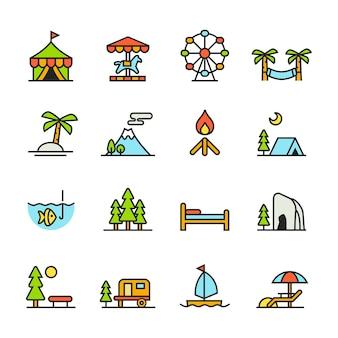 Zestaw ikon paforo (wakacje)