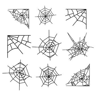 Zestaw ikon pajęczyna na białym tle