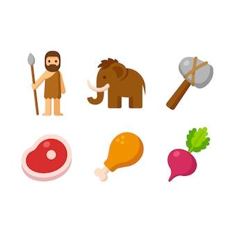 Zestaw ikon paleo, ikony kreskówek pierwotnych ludzi i jego diety.