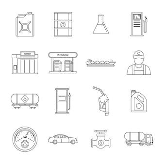 Zestaw ikon paliwa gazowego stacji benzynowej