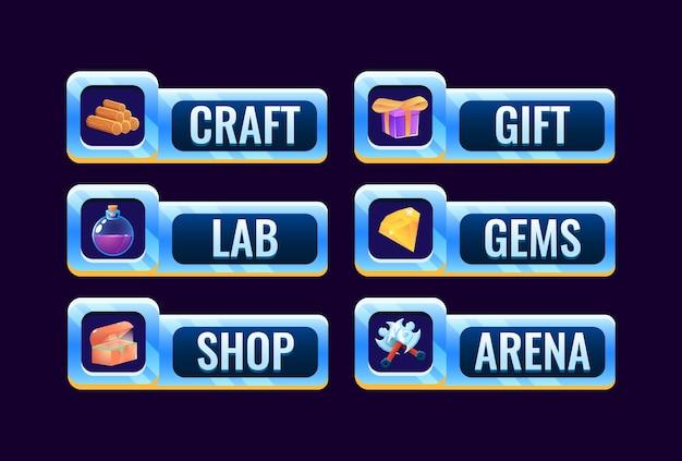 Zestaw ikon panelu ramki przestrzeni gui dla elementów zasobów interfejsu gry