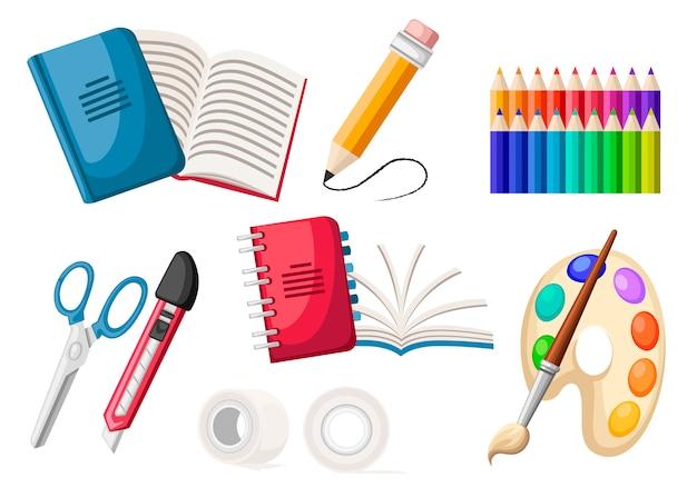 Zestaw ikon papeterii. notatnik spiralny i zwykły, taśma klejąca, paleta, ołówki, nóż i nożyczki. ikona biura płaski. płaskie ilustracja na białym tle.