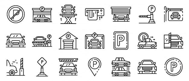 Zestaw ikon parking podziemny, styl konturu