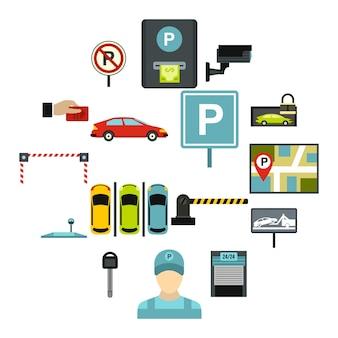 Zestaw ikon parking samochodowy, płaski
