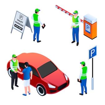 Zestaw ikon parkingowego. izometryczny zestaw ikon wektorowych lokaja na białym tle