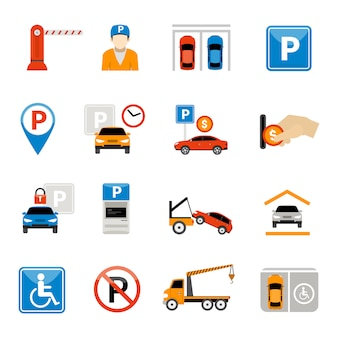 Zestaw ikon parkingowych