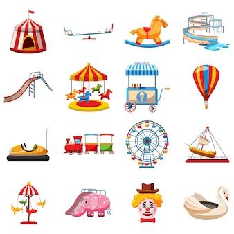 Zestaw ikon parku rozrywki, płaski