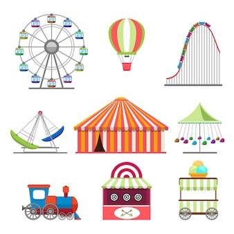 Zestaw ikon parku rozrywki w stylu płaska konstrukcja