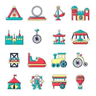 Zestaw ikon parku rozrywki