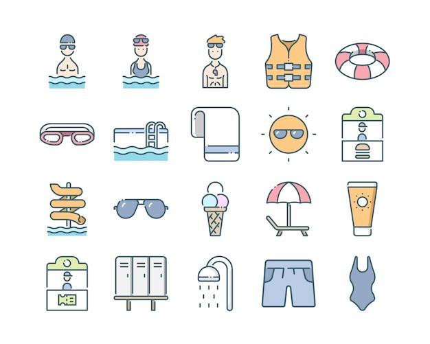 Zestaw ikon parku wodnego